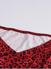 Sexy Leopard Printing Long Sleeve v Neck Dress