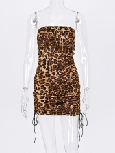Backless Leopard Rope Pulling Strapless Bodycon Dress
