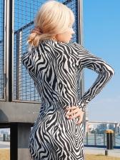 Chic Animal Printed Female Long Sleeve Dress