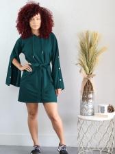 Street Wear Hooded Long Sleeve Dress Casual