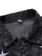 Single-Breasted Star Embroidery Fitted Denim Jacket