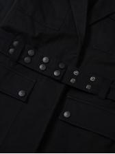 Autumn Multiple Pockets Above Knee Cotton Black Blazer