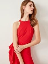 Ruffled Trim Sleeveless Red Midi Dress