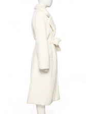 Winter All White Tie-Wrap Soft Plush Thick Long Coat