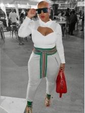 Printed Belt Elastic Waist Ladies Sweatpants