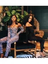 Zebra Printed Off Shoulder Bodysuit And Pant Sets