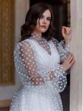 Polka Dots Tulle Long Sleeve Wedding Dresses