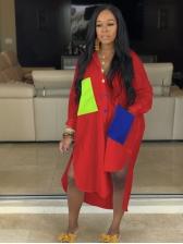 Casual Color Block Loose Shirt Dress
