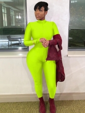 Solid Long Sleeve Zipper Up Stand Collar Skinny Jumpsuit