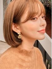 Bow Leopard Pom Pom Ball Earrings For Women