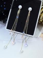 Chic Rhinestone Decor Faux Pearl Tassel Earrings