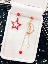 Simple Design Asymmetric Star Moon Long Earrings