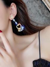 Rhinestone Heart Shape Drop Earrings