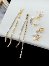 Rhinestone Pearl Decor Star Moon Long Earrings