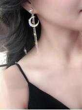 Rhinestone Beading Star Moon Long Earrings