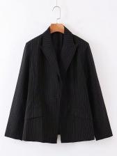 Single Button Striped Black Blazer