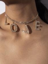 Letter Rhinestone Decor Choker Necklace