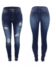 Solid Low Rise Skinny Distressed Jeans For Women