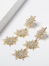 Rhinestone Decor Creative Letter Star Drop Earrings