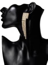 Simple Design Rhinestone Decor Tassel Earrings