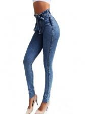 Sexy Tassel Hem High Rise Stretch Jeans For Women