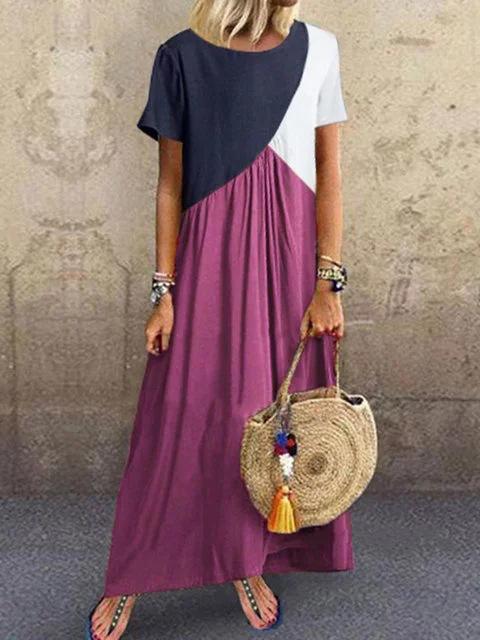 Crew Neck Contrast Color Plus Size Dress