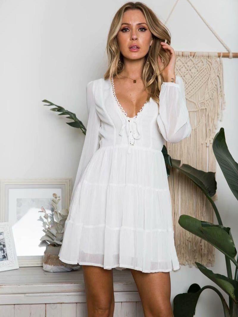 Eyelash Lace Front Tie Long Sleeve Chiffon Dress