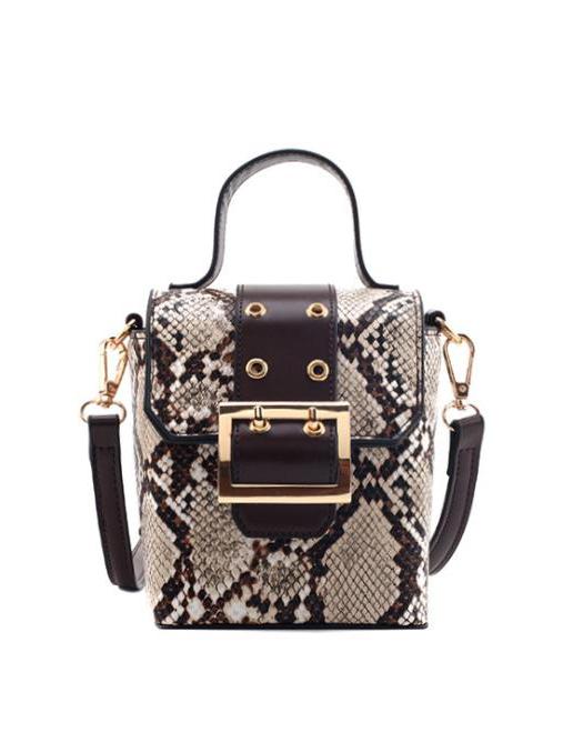Snake Print Metal Buckle Small Shoulder Bag With Handle