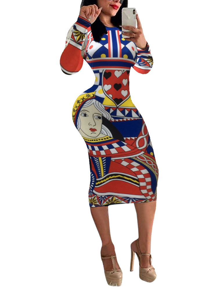 Poker Printed Long Sleeve Bodycon Dress