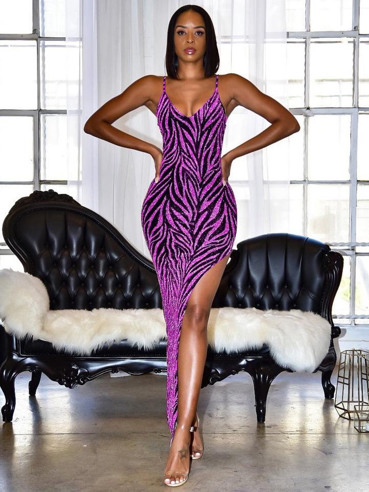 Sexy High Split Hem Glitter Sleeveless Maxi Dress For Club
