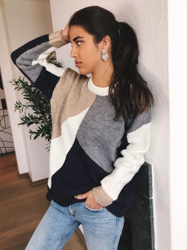 Leisure Color Block Crew Neck Sweater