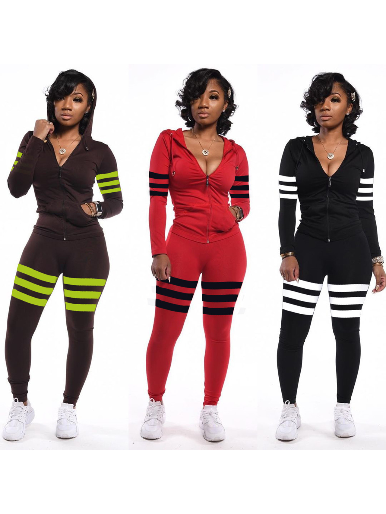 Casual Side Pockets Stripes Hooded 2 Piece Tracksuits