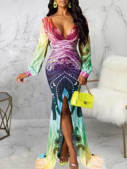 Printed Split Long Sleeve Maxi Dress