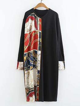 Vintage Printed Loose Long Sleeve Dress