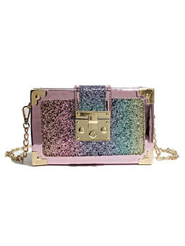 Glitter Sequins Specular PVC Rectangle Chain Shoulder Bag