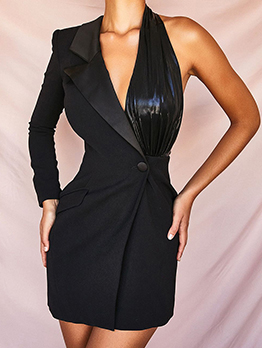 One Shoulder Black Long Sleeve Blazer Dress