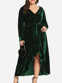 Irregular Hem Tie-Wrap Velvet Plus Size Maxi Dress