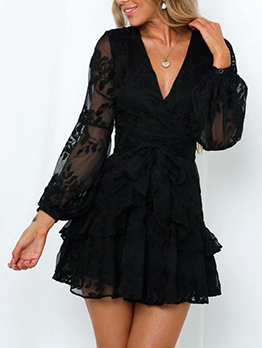 Front Tie Embroidery Long Sleeve Ruffled Dress