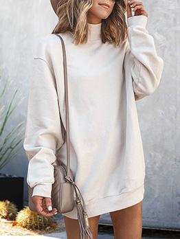 High Neck Solid Long Sleeve Sweatshirt Dress