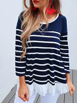 Casual Ruffled Detail Striped T Shirt