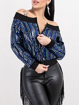 Off The Shoulder Zipper Up Sequin Ladies Coat