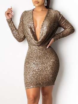 Sexy Low Cut Glitter Long Sleeve Bodycon Dress For Club