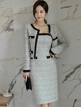Ol Style Contrast Color Woolen Two Piece Dress