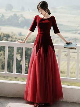 Bateau Neck Gauze Hem Burgundy Wedding Dress
