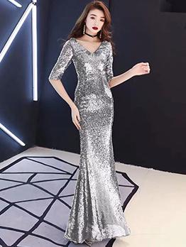 Elegant Fishtail Hem Sequin Evening Dresses 2019