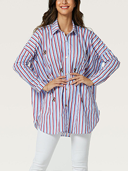 Studded Vertical Stripes Loose Long Sleeve Shirts