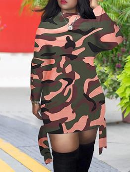 Crew Neck Camouflage Long Sleeve Short Dress