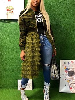 Camouflage Agaric Laces Gauze Hem Long Jackets