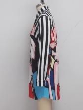 Figure Printed Long Sleeve Shirt Dress