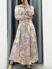 Tie Neck Printed Long Sleeve Midi Dress